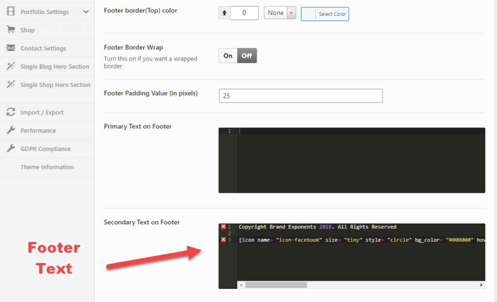Change Icon Links in Footer - Oshine Theme